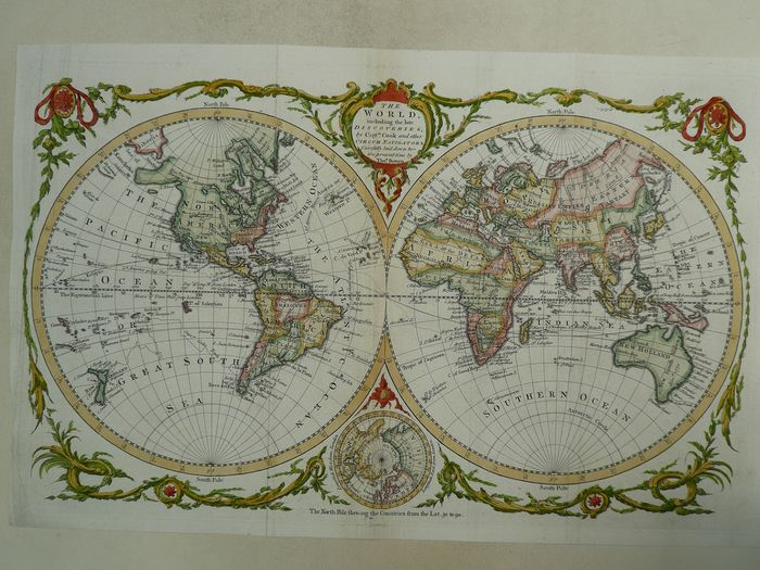 Wereld, Continents; Thomas Bowen - The world including the late discoveries by Cpt. Cook - 1721-1750