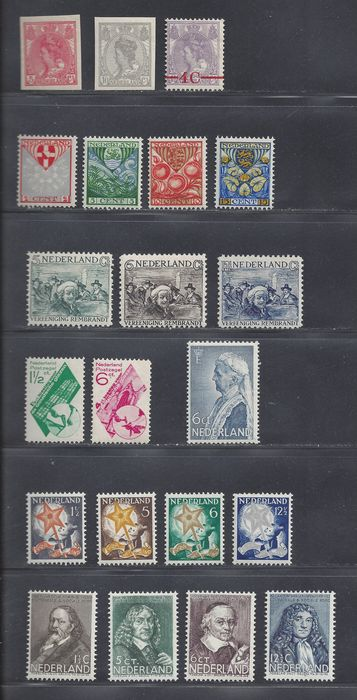 Netherlands 1923/1937 - Eight complete issues - NVPH 82/83, 106, 199/201, 229/231, 238/239, 261/264, 269, 296/299