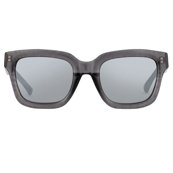 """Phillip Lim - D-Frame Grey Carved Back and Smoke Mirror Lenses Category 3 - PL51C12SUN """"NO RESERVE PRICE"""" Sunglasses"""