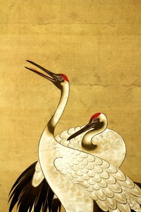 """Hanging scroll - Silk - """"Shipping limitation on this order. Please check description"""" - Cranes under pine treee - With signature and seal 'Tosa Mitsuzane' 土佐光孚 - Japan - ca 1900-10s (Meiji/Taisho)"""