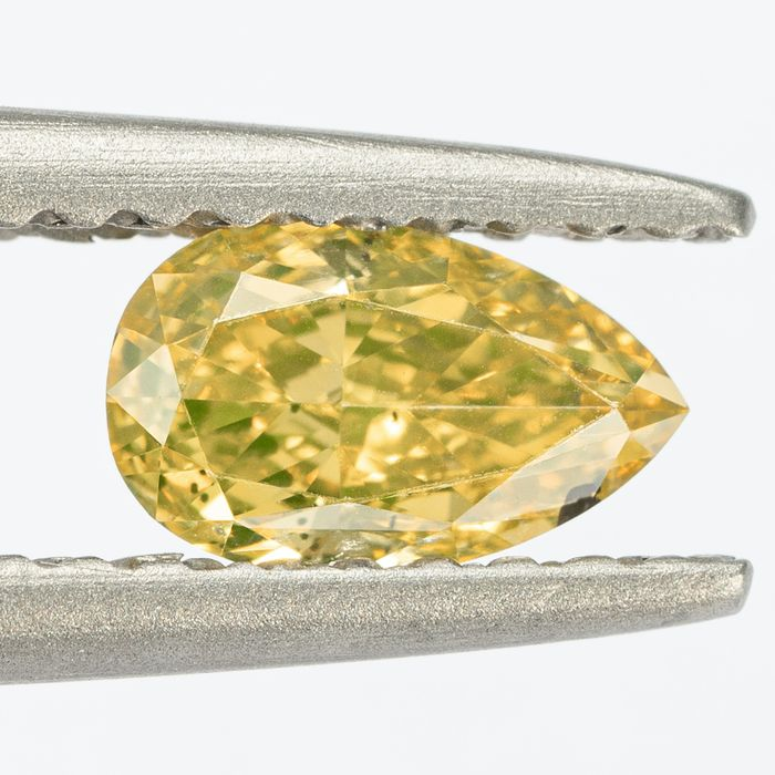 Diamond - 0.52 ct - Pear - Natural Fancy Brownish Yellow - Si1 - NO RESERVE PRICE