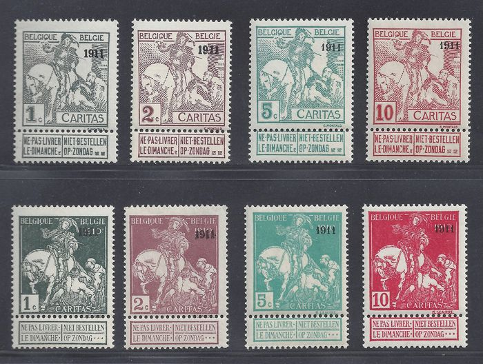 Belgium 1943 - Type Montald and Lemaire with overprint 1911 - OBP / COB 92/99