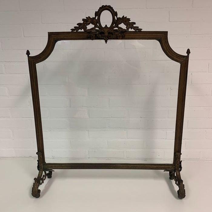 Fireplace screen with glass plate and very nice details - Brass, Glass - Circa 1900/1920