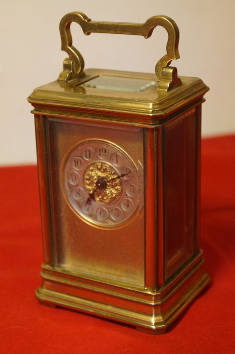 French decorative carriage clock, circa 1890 - Brass, Glass - Late 19th century