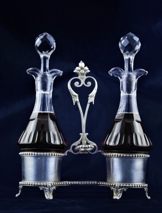 Cruet stand, Cabbage for vinegar and oil - .950 silver, Crystal - France - Second half 19th century