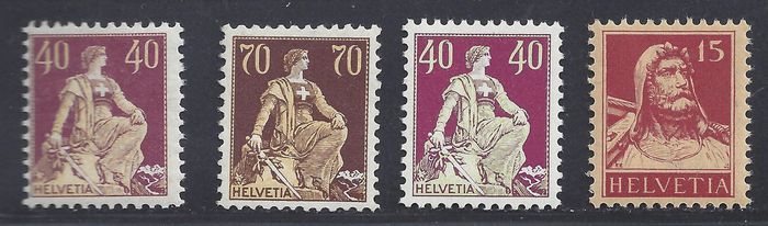 Switzerland 1908/1921 - Various better stamps with, amongst others, a sitting Helvetia - Michel 106, 108, 171, 205Z, 208