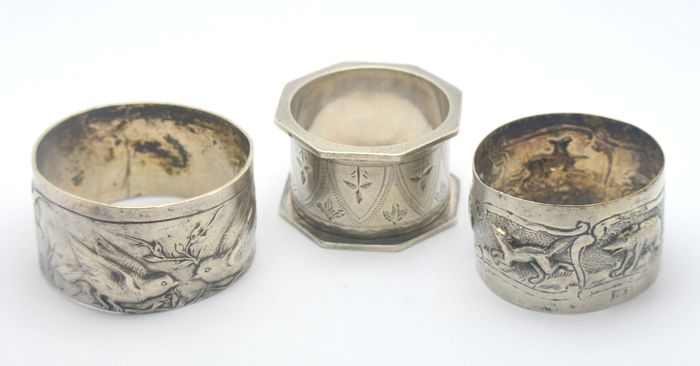 Napkin ring (3) - .925 silver - Europe - Early 20th century