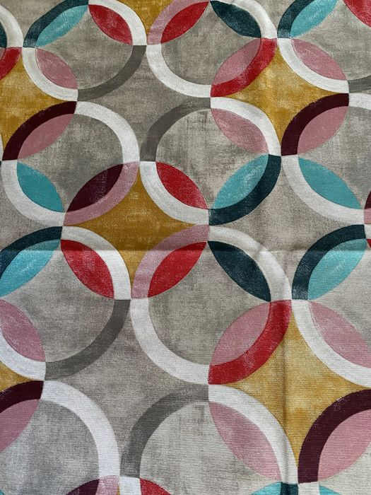 2.8 x 2.7 m - cubist style circles decoration fabric - cotton blend - Late 20th century