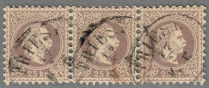 Austria 1874 - 25 kreuzers, strip of three - ANK 40IIa lilagrau