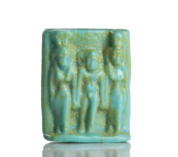Ancient Egyptian Glass Triad Amulet Plaque ( extremely rare in this material )  - 3×2.4×0.8 cm