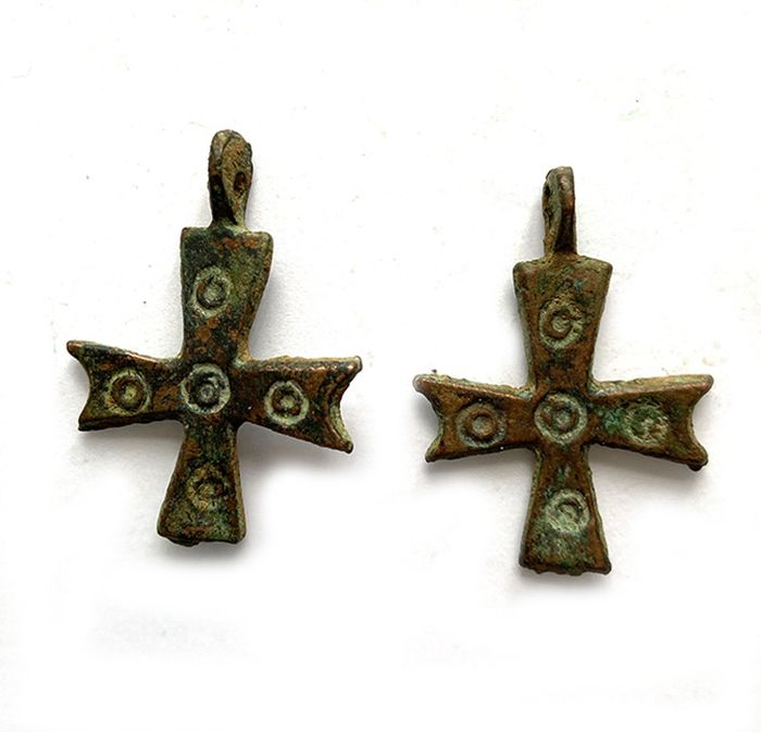 Byzantine Bronze Two Crosses, No Reserve