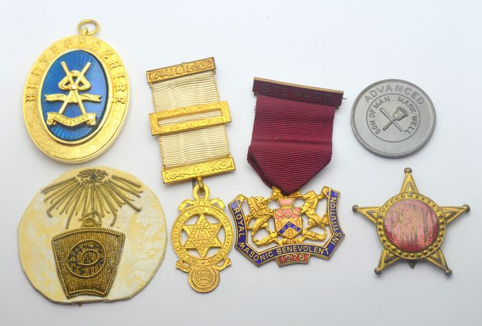 Lot of 6 Masonic Medals  - Medaille (6) - Messing, Textiel, Verguld