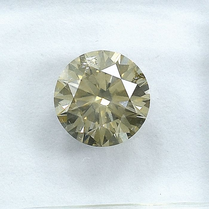 Diamond - 1.20 ct - Brilliant - Natural Fancy Light Yellowish Brown - I1 - NO RESERVE PRICE