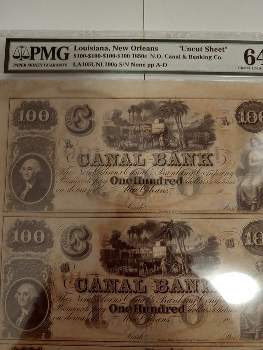 VS - Obsolete currency - 4 x 100 dollars 1850's - Canal Bank - New Orleans - Uncut sheet of 4 pieces