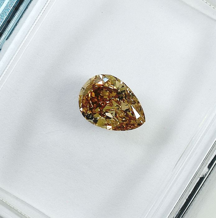 Diamond - 0.41 ct - Pear - Natural Fancy Light Brown - SI2