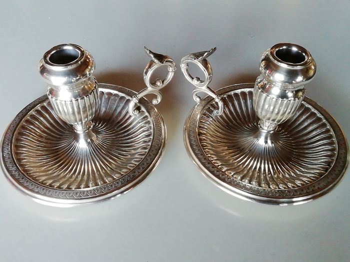Chamberstick (2) - .800 silver - Italy - Mid 20th century
