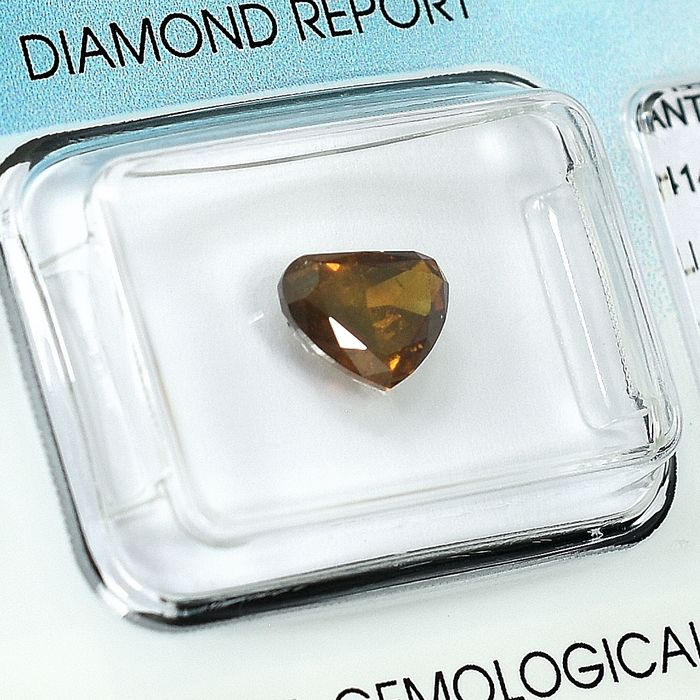 Diamond - 1.18 ct - Pear - Natural Fancy Brown Orange - I1