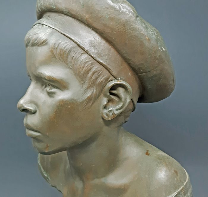 """Alfonso Ricca - Sculpture, """"Marinaretto"""" young sailor - 56 cm - Patinated bronze - Early 20th century"""