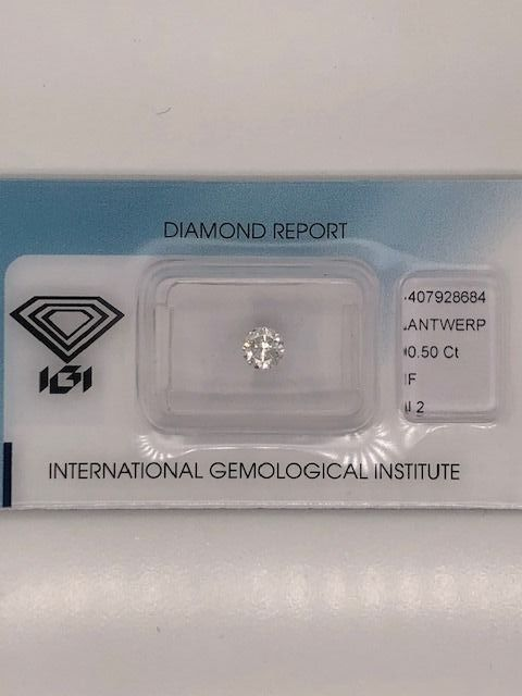1 pcs Diamond - 0.50 ct - Round - F - I2