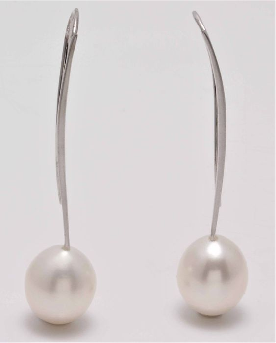 No reserve price - 14 kt. White Gold - 12mm White Cultured Pearls - Earrings