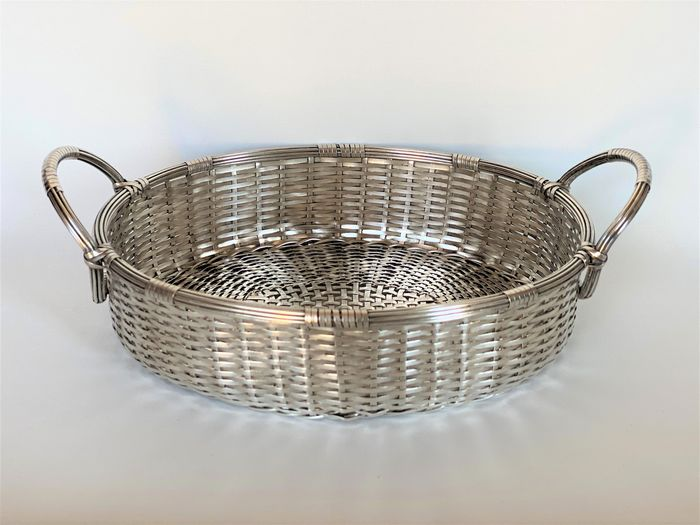 Woven basket with handles - Silverplate