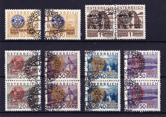 Austria 1931 - Double series, mainly in pairs - Michel 518/523