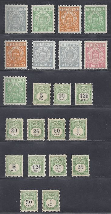 Luxembourg 1875/1908 - Postage due and Telegraph, better issues - Michel  P1/5, 2 sets, T1/5, betere waarden