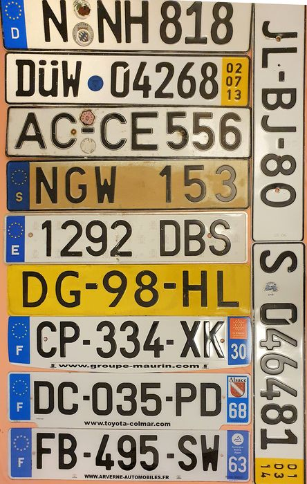 Number plate - Europa - NL - F - E - D - S - 1970 - 2000