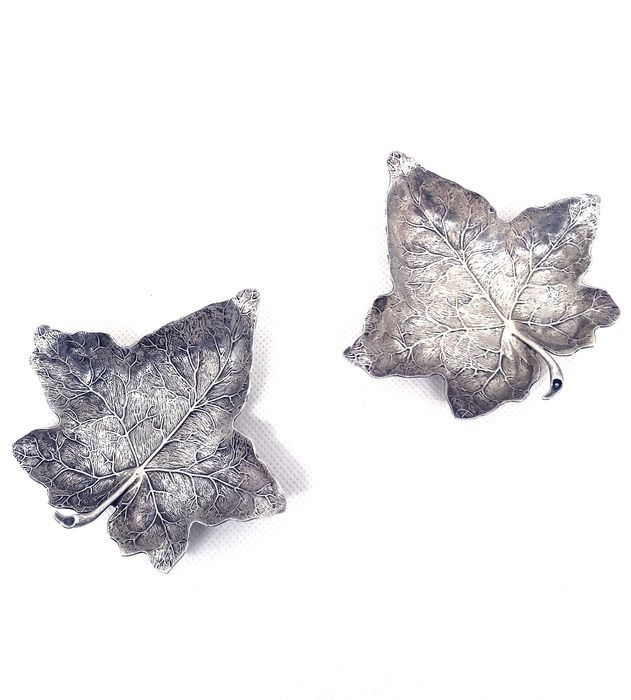 Pair of wonderful leaves (2) - .925 silver - Gianmaria Buccellati - Italy - Second half 20th century