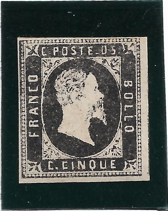 Italien 1851 - Kingdom Sardinian states first issue 5 c. black - Unificato 1
