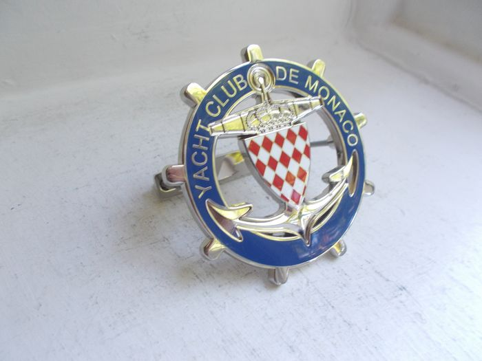 Badge - Vintage Yacht Club De Monaco chrome on brass and enamel car grille badge with fixings stunning - 1970-1980