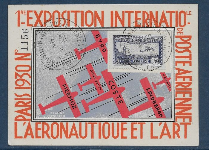 France 1930 - EIPA30 card with 6c airmail stamp - Yvert aereo 6c