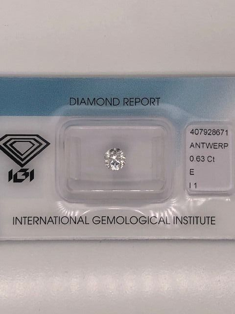 1 pcs Diamond - 0.63 ct - Round - E - I1