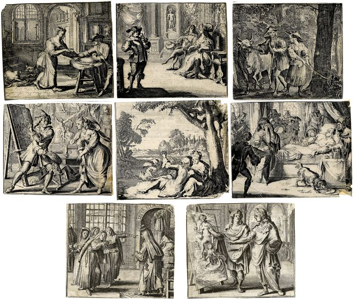 Romeyn de Hooghe  (1645-1708) - 8 prints from LaFontaine's fables