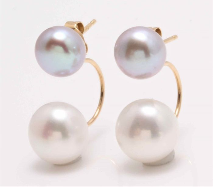 No reserve price - 14 kt. Yellow Gold - 8x10mm Cultured Pearls - Earrings