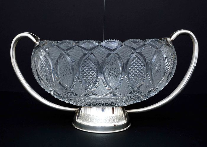 Centerpiece, Hand-cut Crystal Center Table (1) - .925 silver - Europe - Mid 20th century