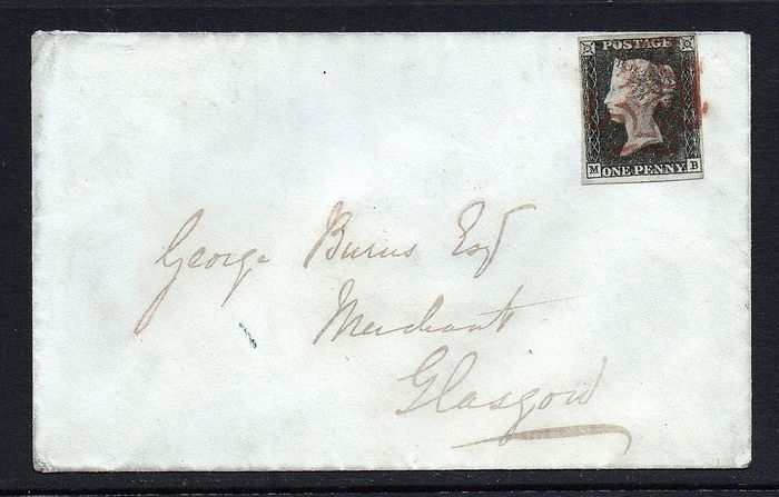 QV 1840 1d Black Plate 1b 11th May Cover - Stanley Gibbons 2
