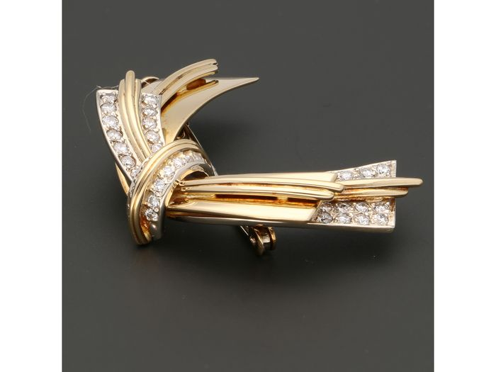 18 kt. Gold - Brooch - 0.66 ct Diamond