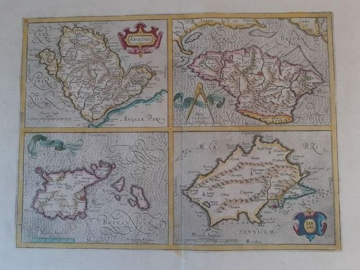 U.K., Channel Isles together with the Isle of Wight and Anglesea.; Gerhard Mercator. - Anglesey (..) - Ca 1628