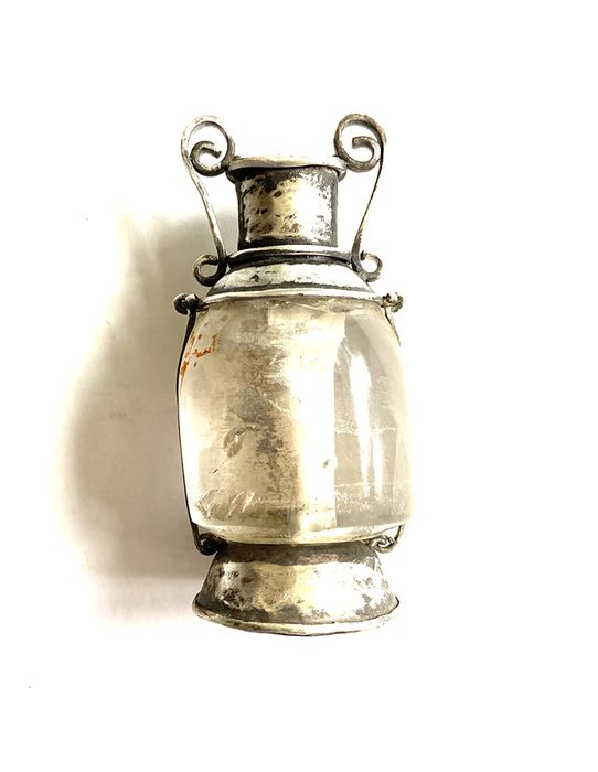 Ancient Roman Crystal and Silver Scent or Perfume Amphora