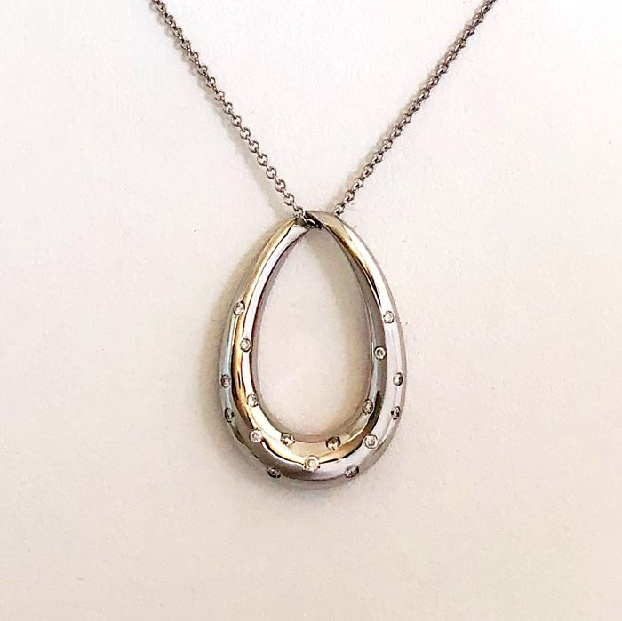Leo Pizzo - 18 kt. Gold, White gold - Necklace, Necklace with pendant - 0.16 ct Diamond