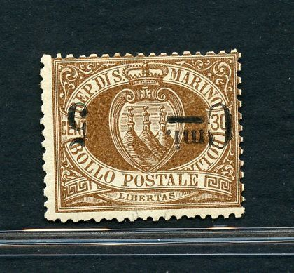 San Marino 1892 - Overprinted coat of arms - 5 c. upside down - Sassone N. 9a