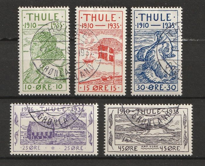 Thule 1935/1936 - Complete collection of all stamps from Thule (Greenland) - Michel 1/5