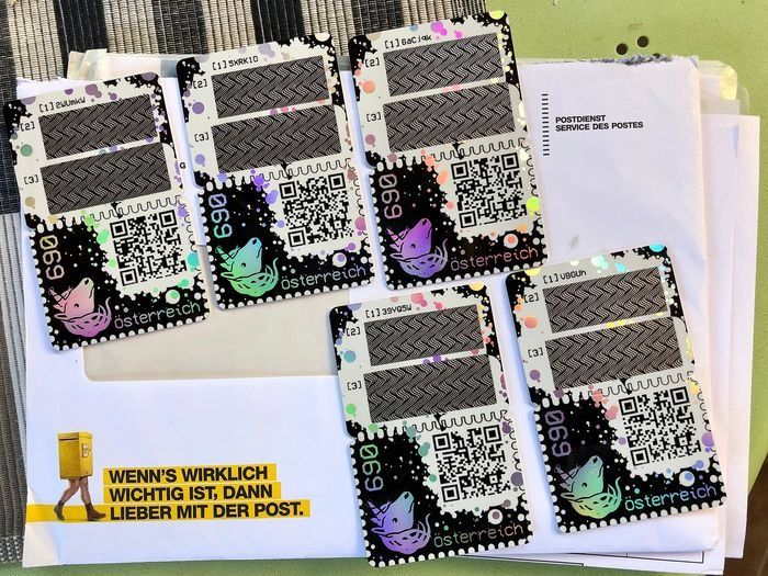 Österreich - Crypto Stamp complete set with all colour editions 5-digit black stamp and explanatory sheet - 1st blockchain stamp (ETH)