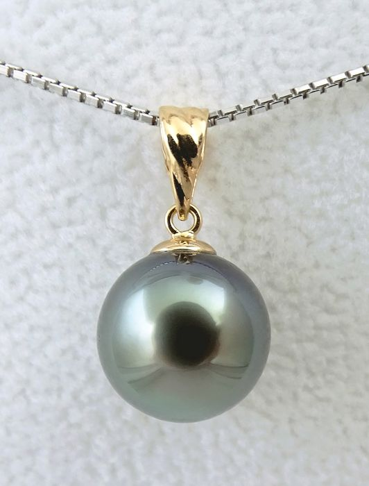 No Reserve Price - Tahitian pearl, Blue Green Shimmer Round 10.72 mm - Pendant, 18 kt. Yellow Gold