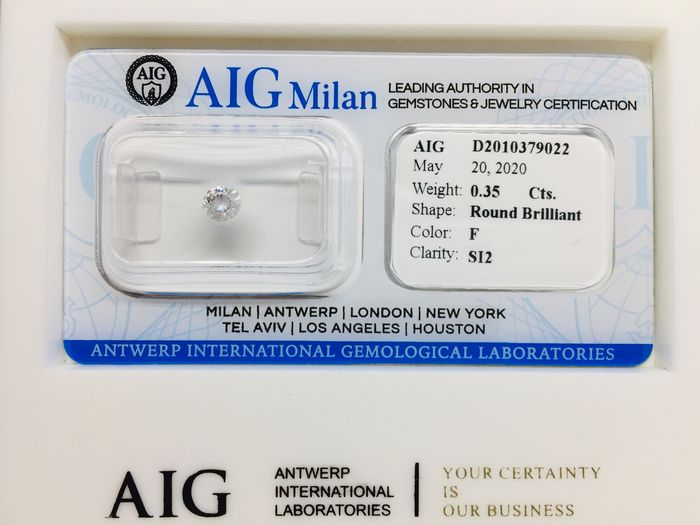 1 pcs Diamond - 0.35 ct - Brilliant, Round - F - SI2
