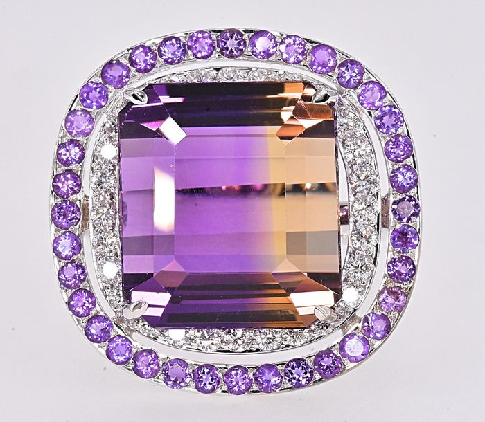 18 kt. White gold - Ring - 19.78 ct Ametrine - 0.50 Ct Diamonds