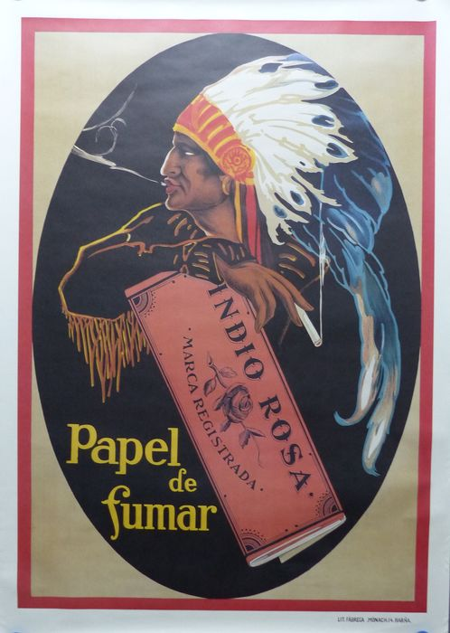 Anonymous - Papel de Fumar Indio Rosa, Barcelona (Spain) - 1960-tallet
