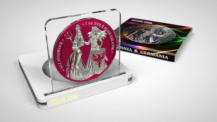 Germany. 5 Mark 2019 - Germania -  The Allegories i-Color Edition - Raspberry - 1 Oz