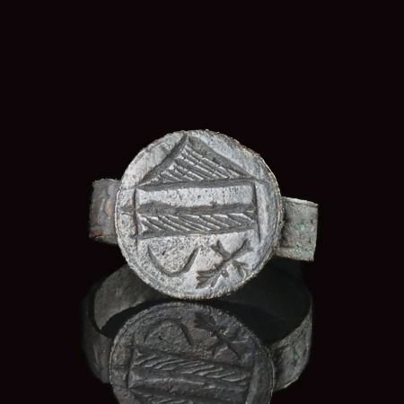 Medieval Bronze Crusader Era ring with crescent and cross - (1)